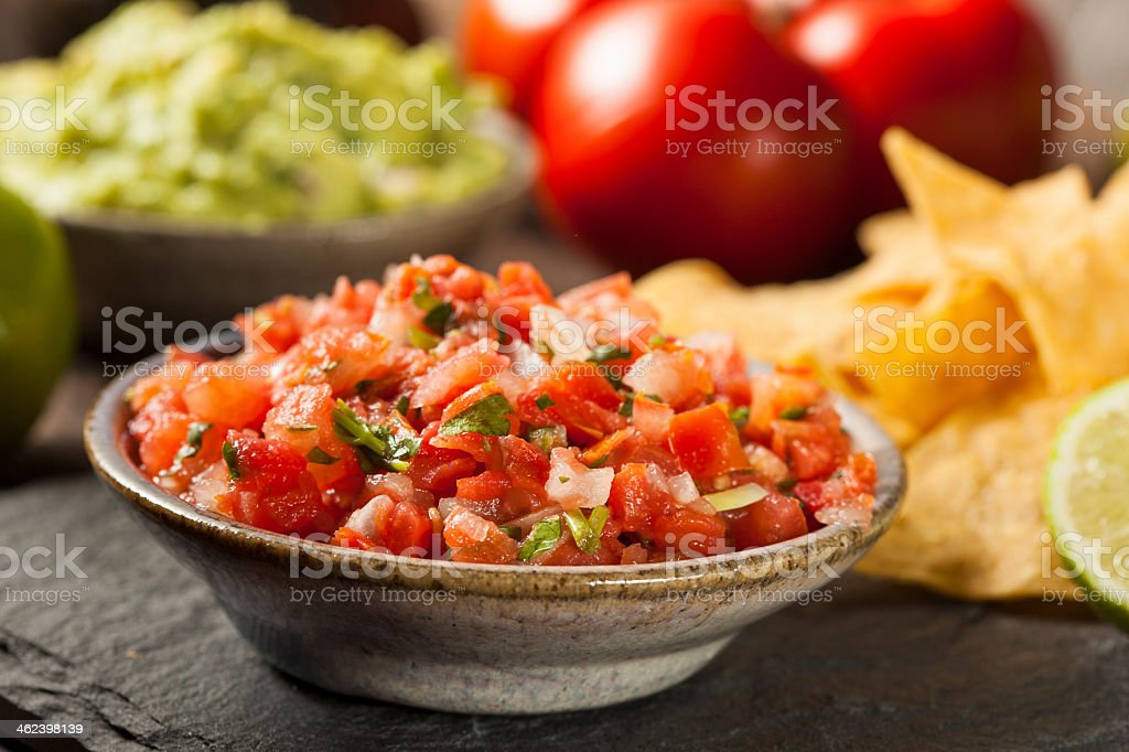 Homemade pico de gallo salsa and chips stock photo