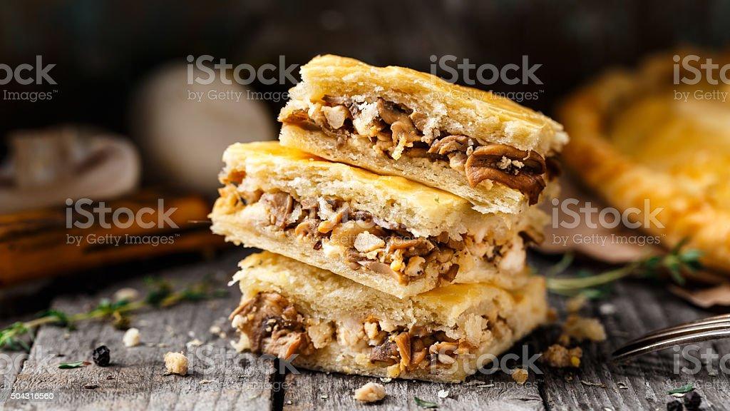 Homemade pie stuffed with mushrooms stock photo