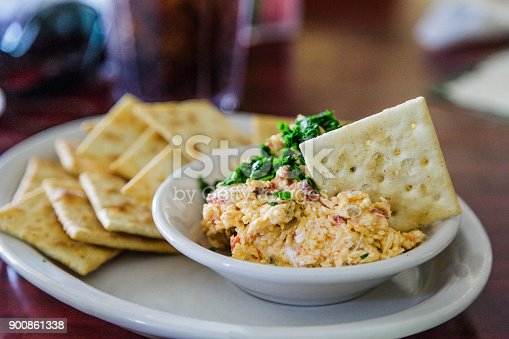 Homemade Pimento Cheese and Crackers on White Plate