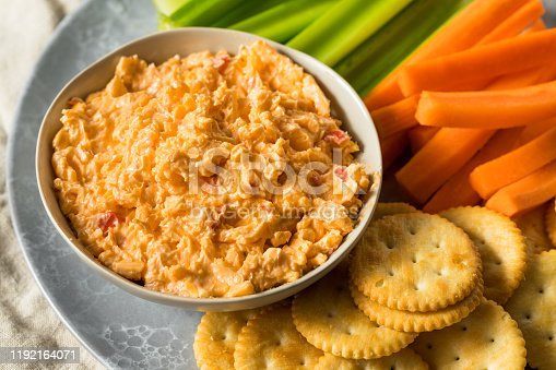 Homemade Pimento Cheese Spread with Crackers and Veggies