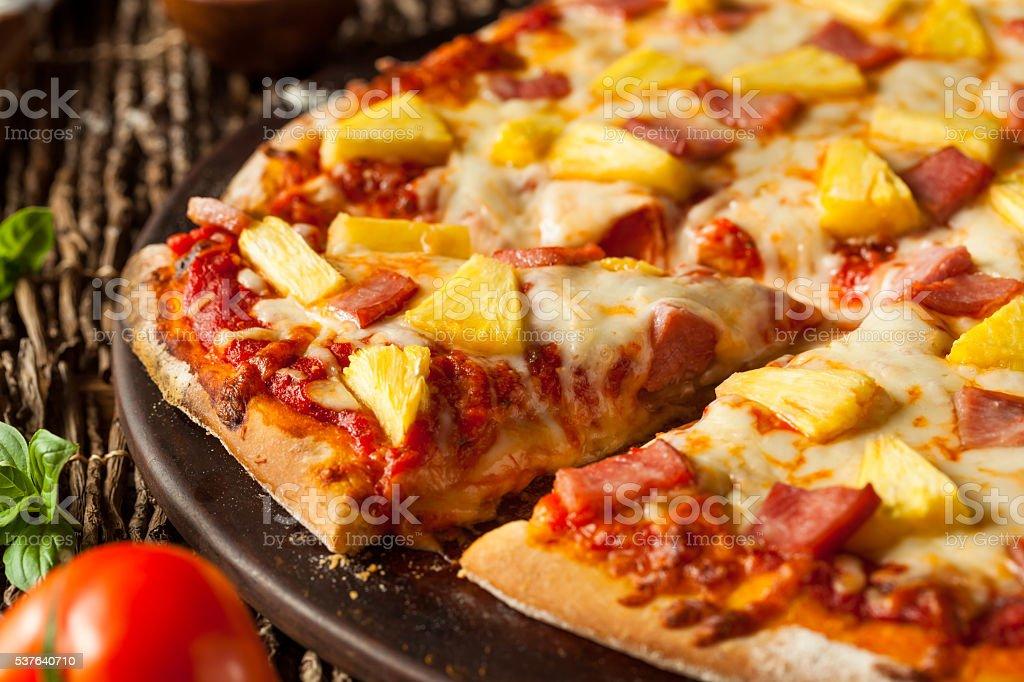 Homemade Pineapple and Ham Hawaiian Pizza stock photo