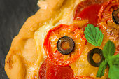 istock Homemade pizza selective focus. Close up shot of freshly baked pizza 1008258052
