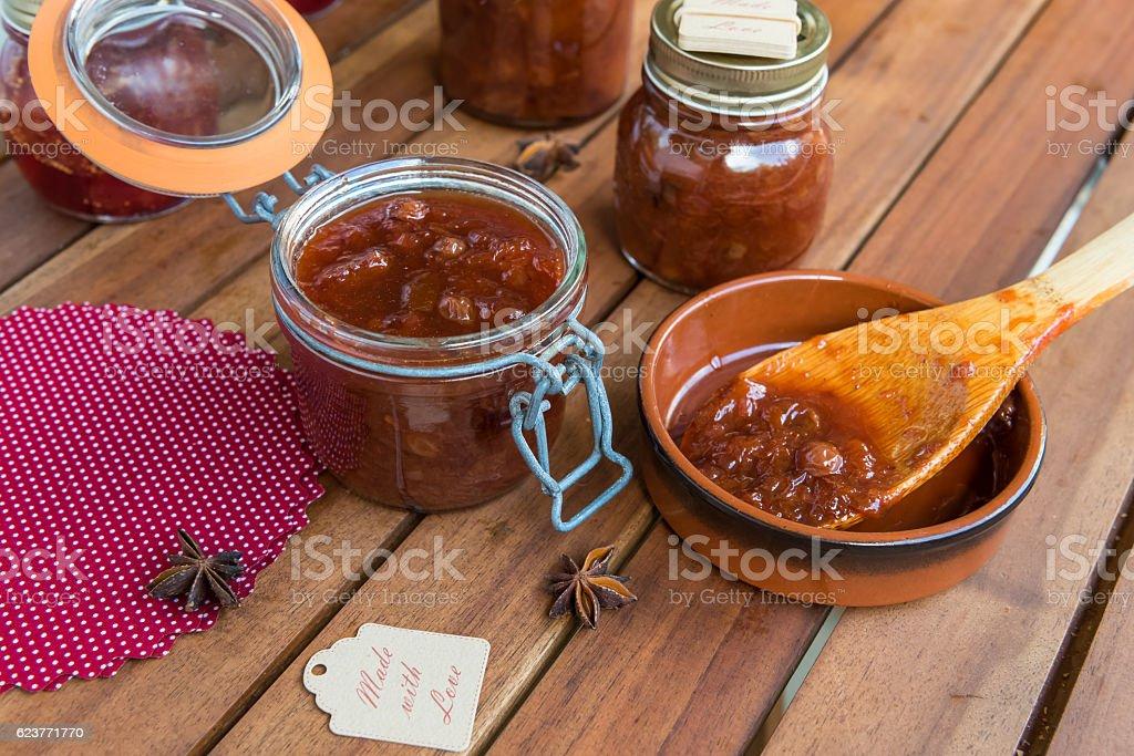 Homemade plum chutney stock photo