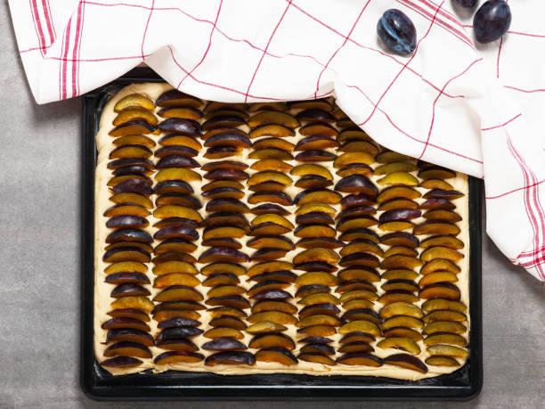 hausgemachten pflaumen pie gemacht von frischem hefeteig. - tarte und törtchen stock-fotos und bilder