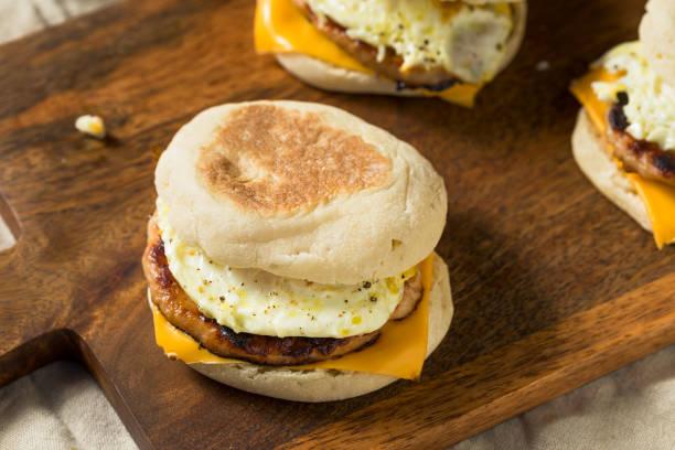 Homemade Pork Roll Egg Sandwich stock photo