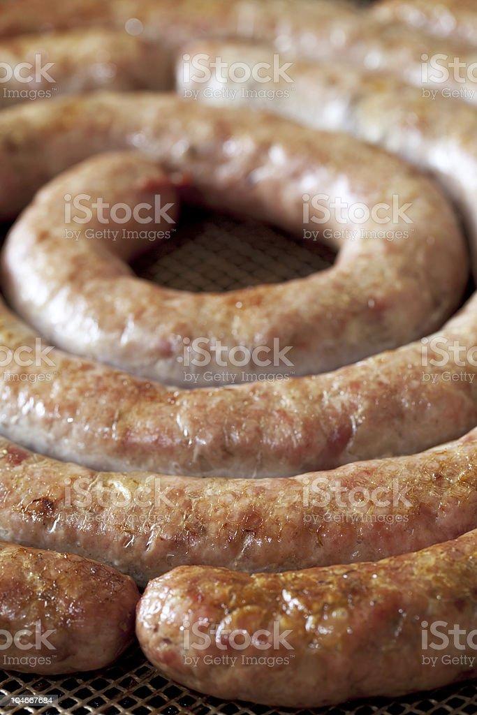 homemade pork sausage, spiral baked royalty-free stock photo