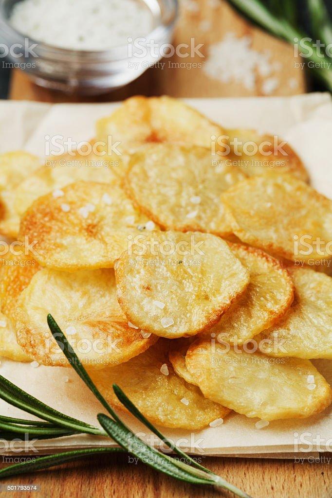 Homemade potato chips or crisp stock photo
