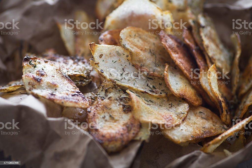 Homemade potato chips stock photo
