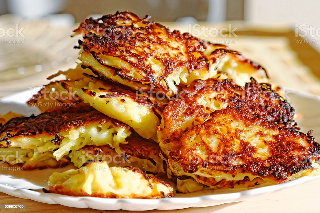 Homemade potato pancakes. Belarusian cuisine. stock photo