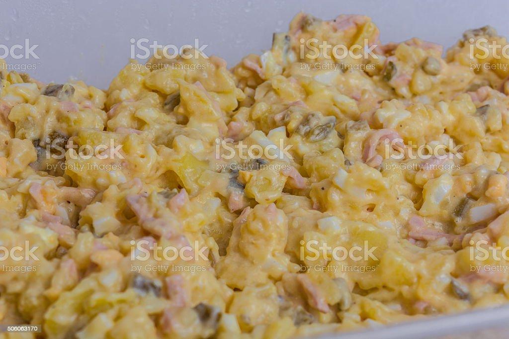 Homemade potato salad stock photo