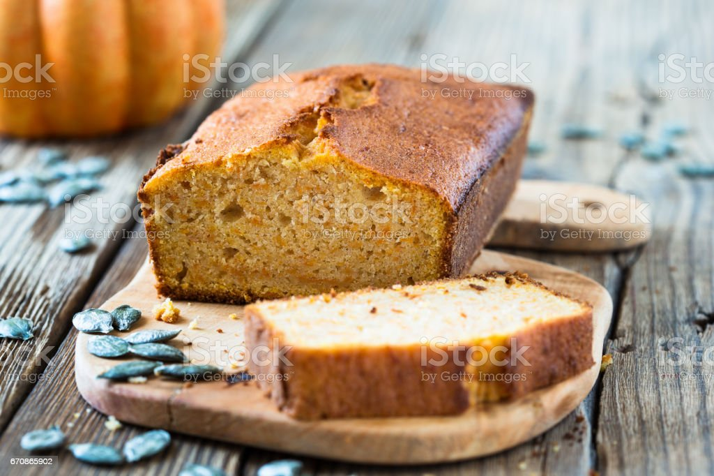 Homemade pound cake baked in a loaf pan
