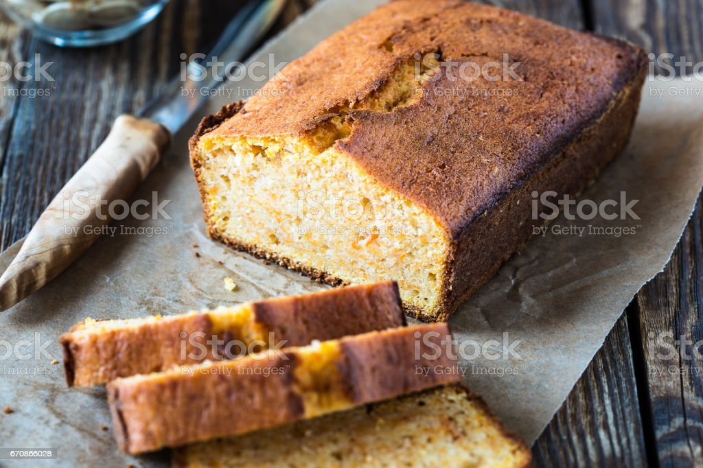 Homemade pound cake baked in a loaf pan stock photo