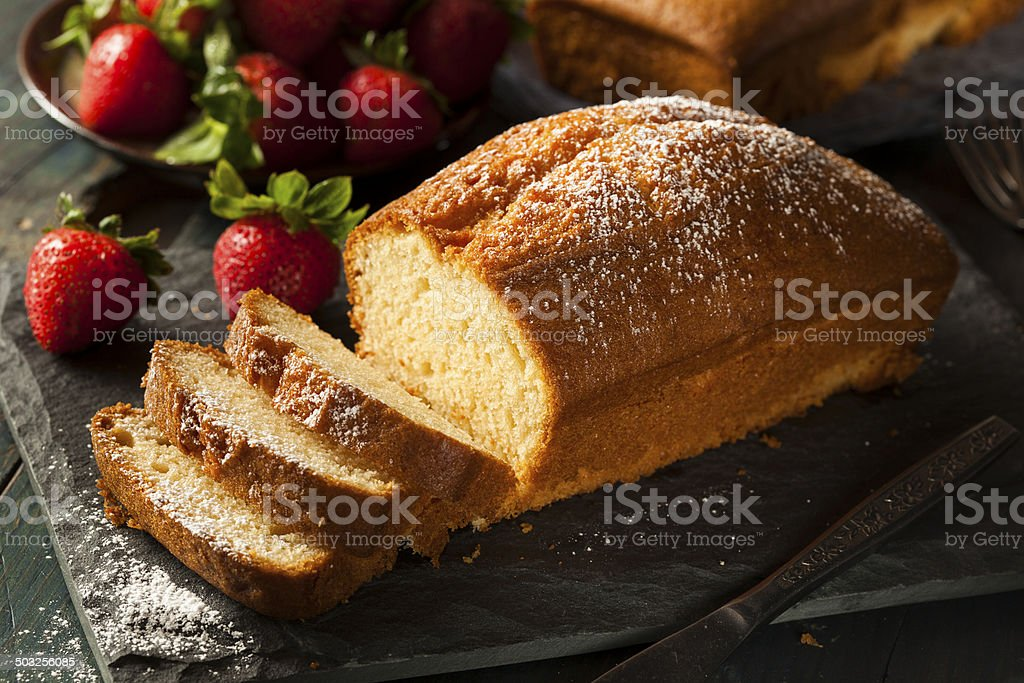 Homemade Pound Cake with Strawberries stock photo