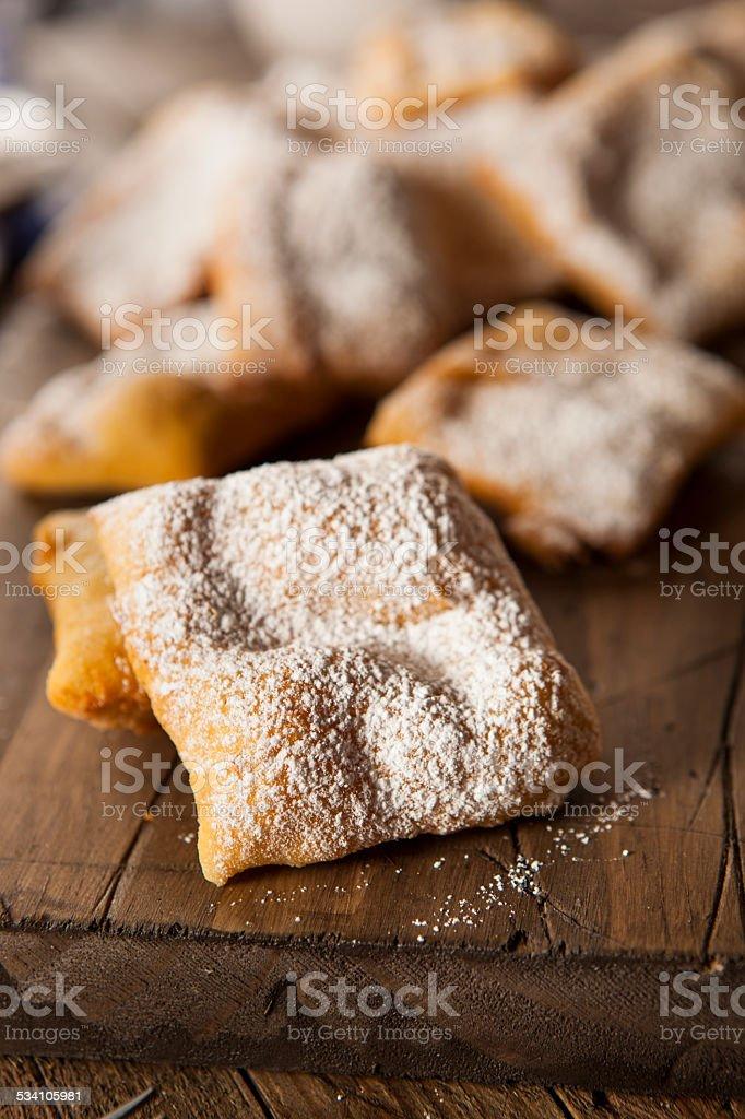 Homemade Powder Sugar Beignets stock photo