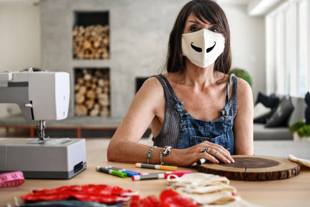 Homemade protective masks stock photo