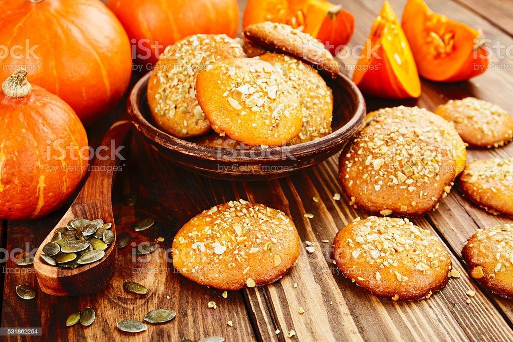 Homemade pumpkin cookies stock photo