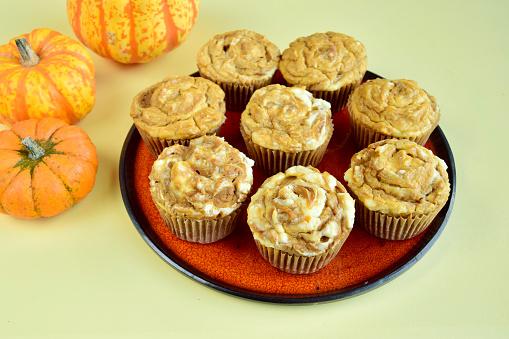 Homemade pumpkin cream cheese muffins
