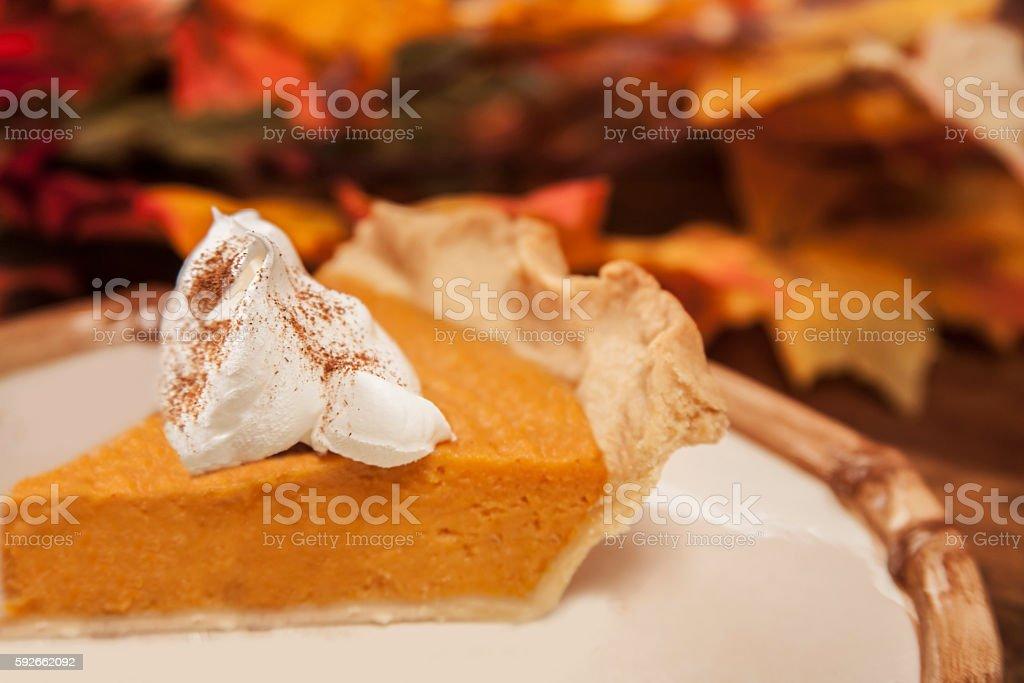Homemade pumpkin or sweet potato pie dessert for Thanksgiving. stock photo