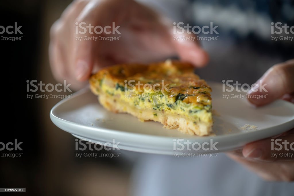 homemade Quiche with egg and vegetable stock photo