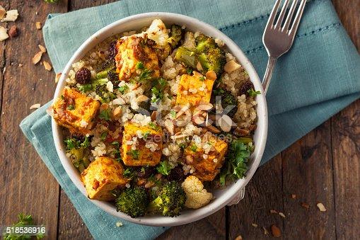 Homemade Quinoa Tofu Bowl with Roasted Veggies and Herbs