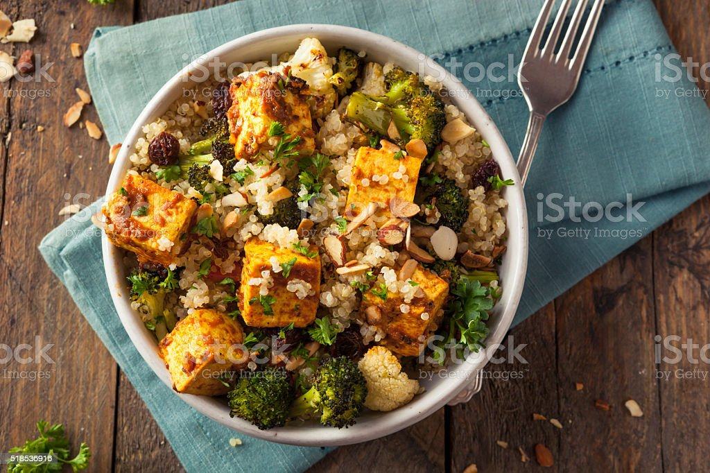 Homemade Quinoa Tofu Bowl stock photo