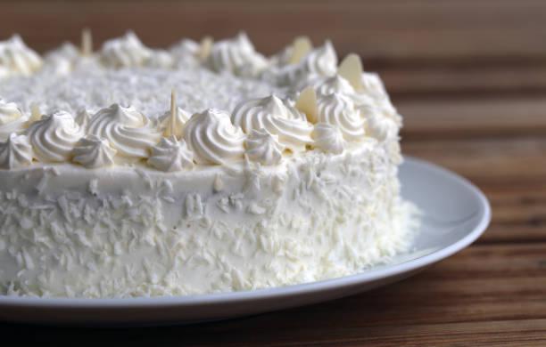Homemade Raffaello Cake (Coconut Almond Cake) stock photo