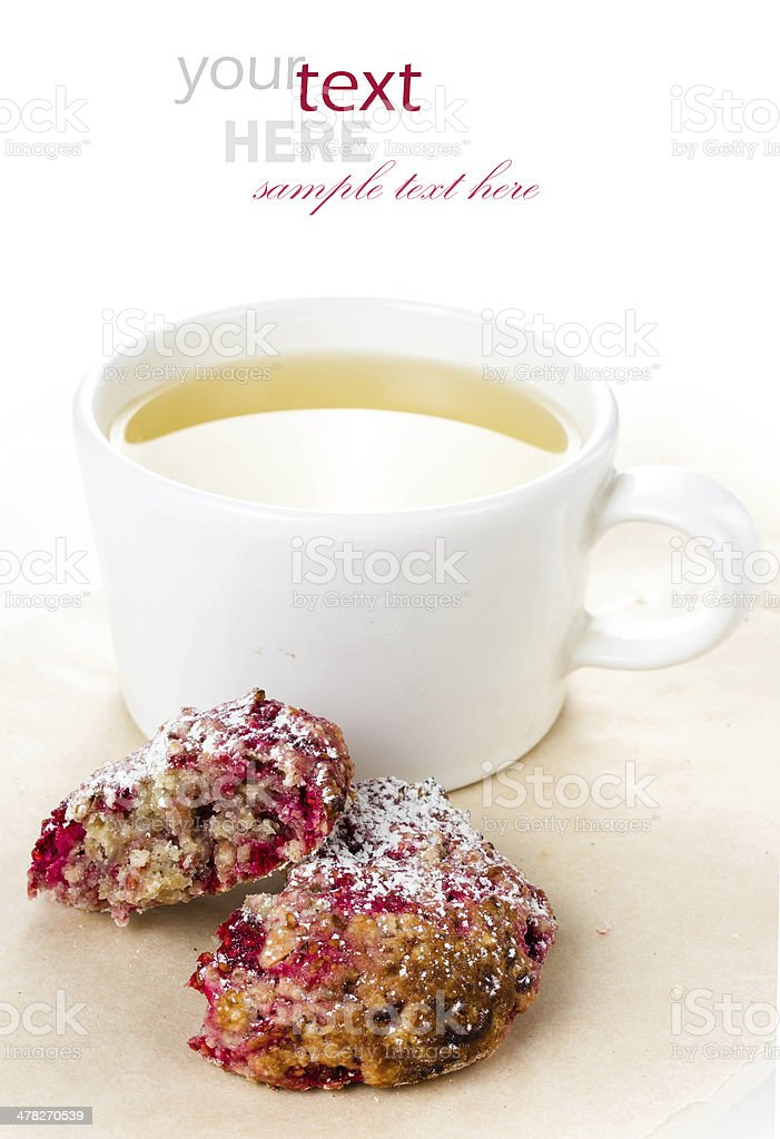 Homemade raspberries cookie with oatmeal and cup royalty-free stock photo