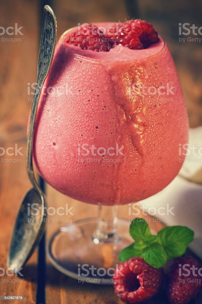 Homemade Raspberry Ice Cream stock photo