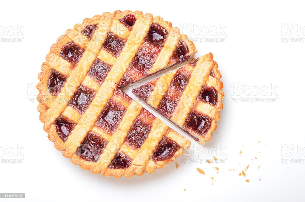 Homemade raspberry pie with slice cut out stock photo