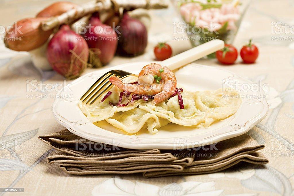 Homemade Ravioli with Shrimps stock photo
