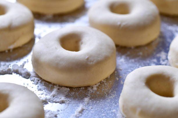 Homemade raw Doughnut dough stock photo