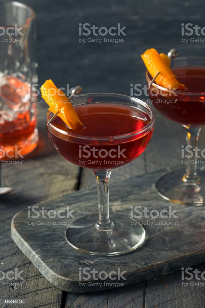 Homemade Red Boulevardier Cocktail stock photo