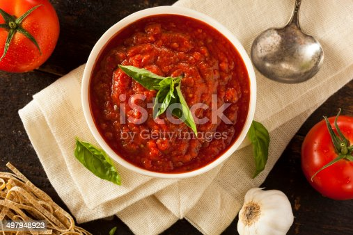 Homemade Red Italian Marinara Sauce with Basil and Garlic