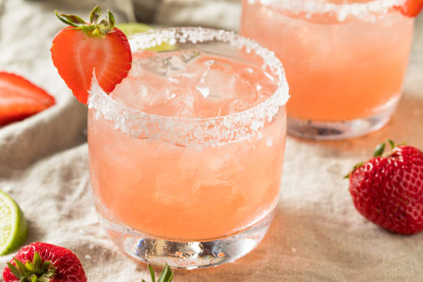 Homemade Red Strawberry Margarita stock photo