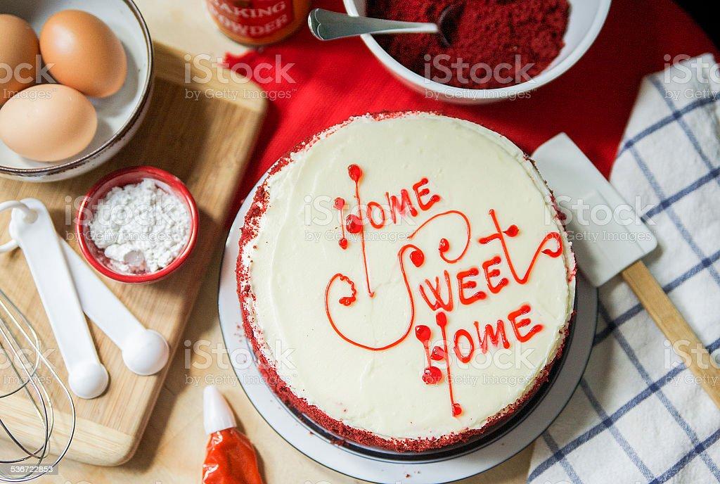 Homemade Red Velvet Cake stock photo