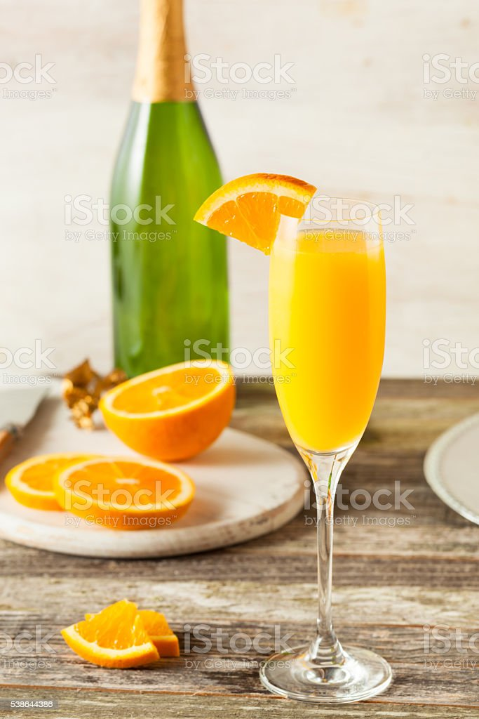 Homemade Refreshing Orange Mimosa Cocktails stock photo