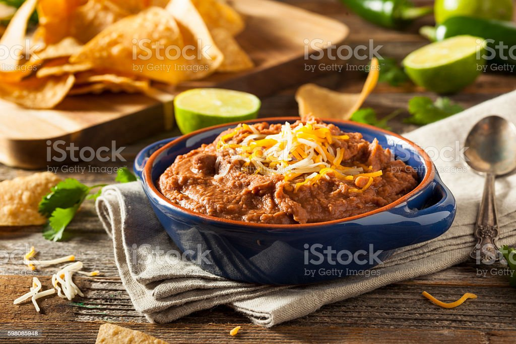 Homemade Refried Pinto Beans stock photo