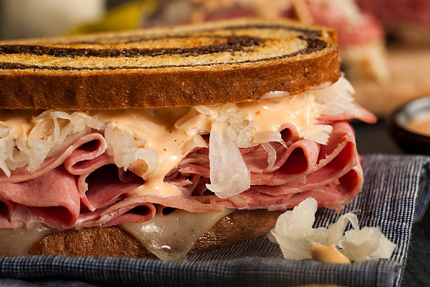 homemade reuben sandwich - pastrami stock pictures, royalty-free photos & images