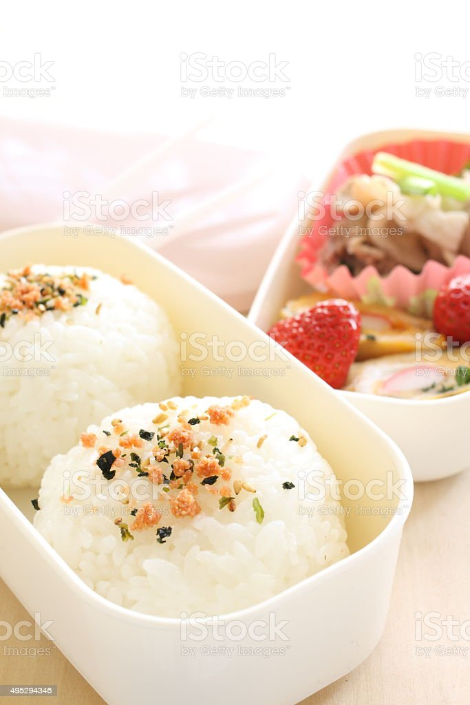 Homemade rice ball bento stock photo