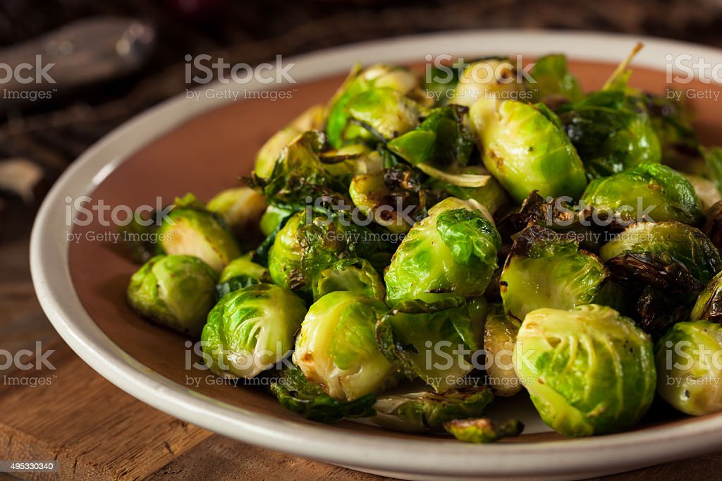 Homemade Roasted Brussel Sprouts stock photo