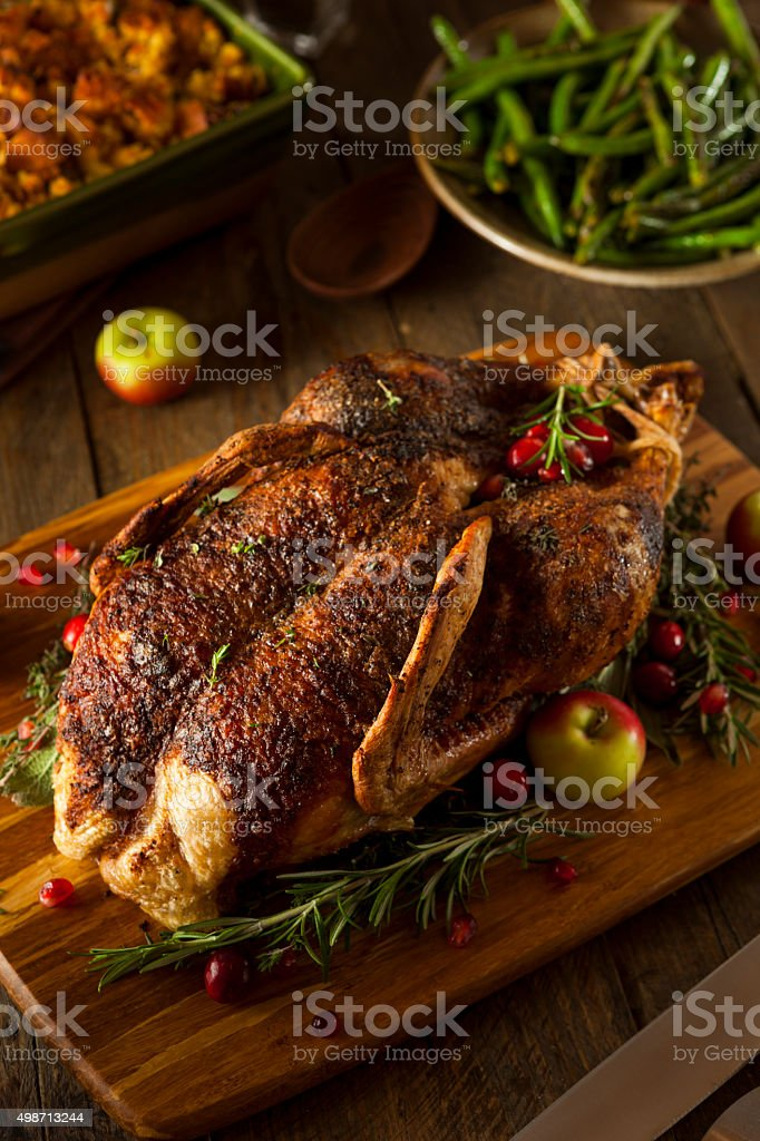 Homemade Roasted Duck with Herbs stock photo