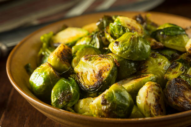 Homemade Roasted Green Brussel Sprouts stock photo