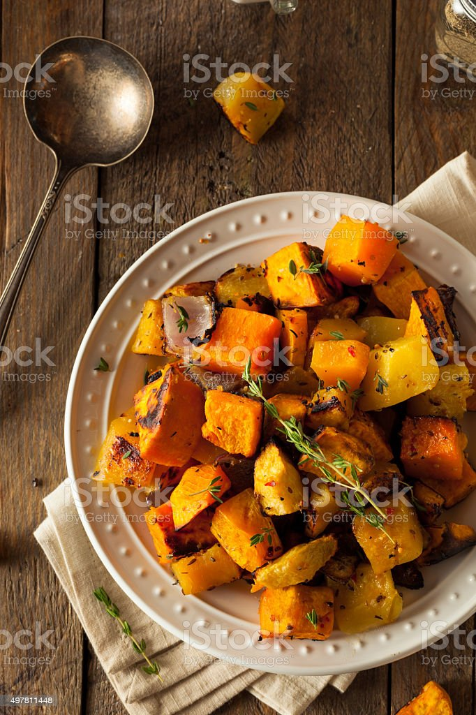Homemade Roasted Root Vegetables stock photo