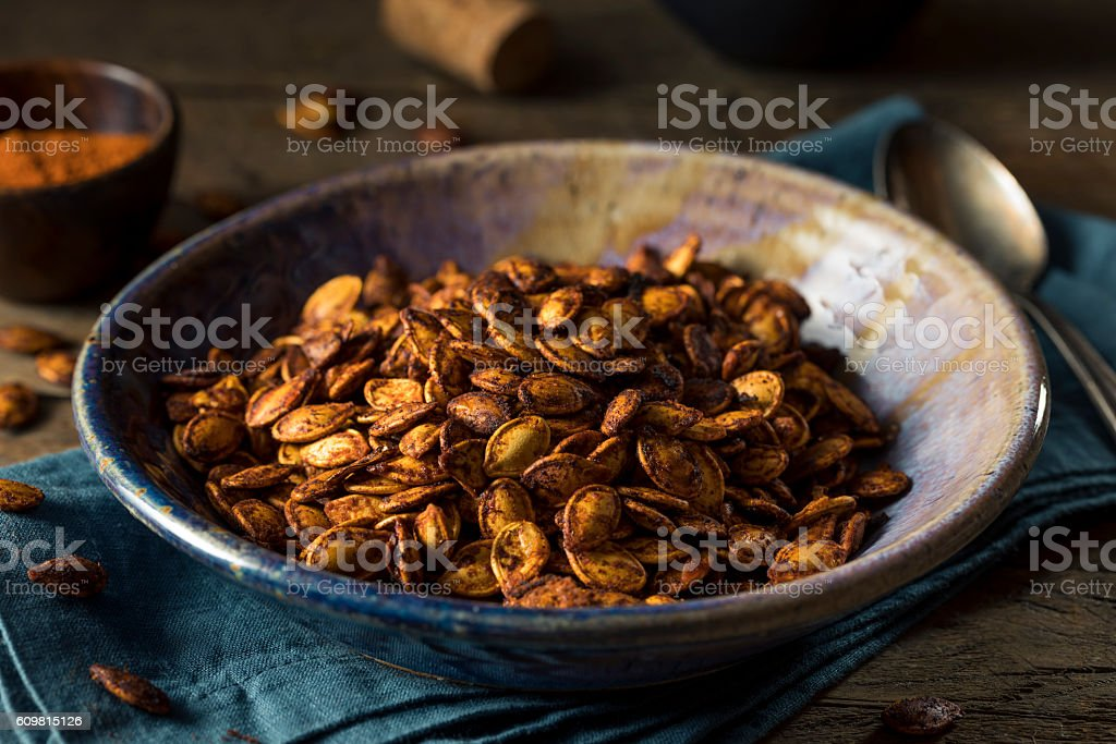 Homemade Roasted Spicy Pumpkin Seeds stock photo