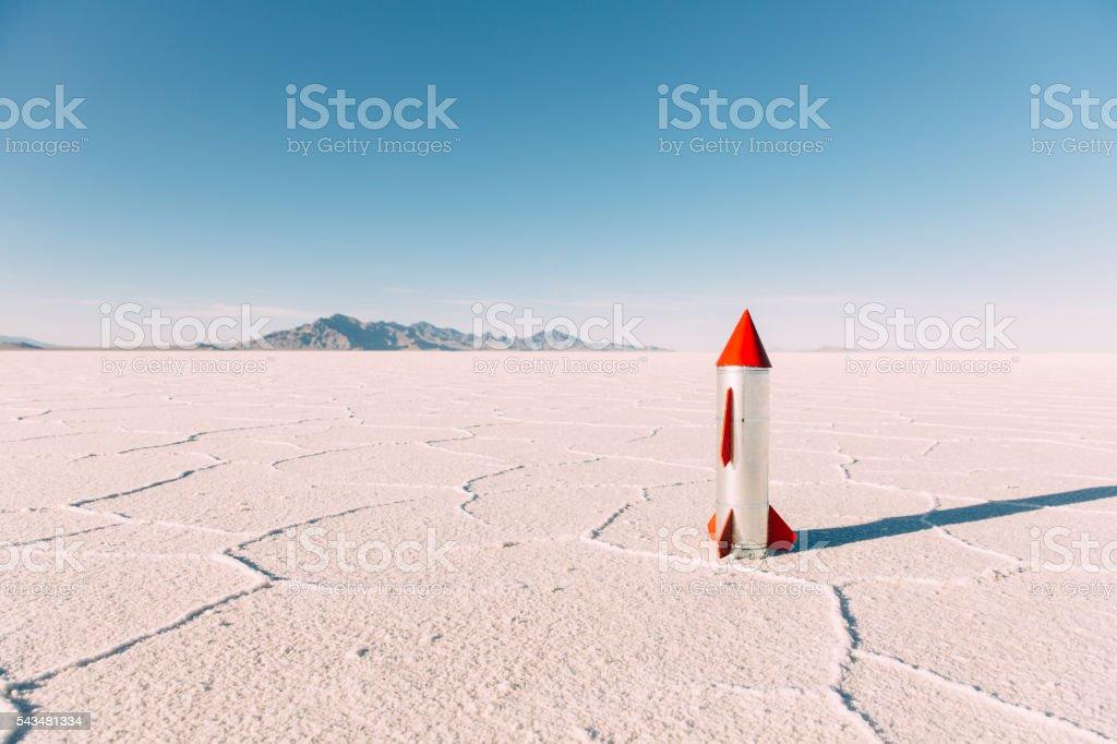 Homemade Rocket on Utah Salt Flats stock photo