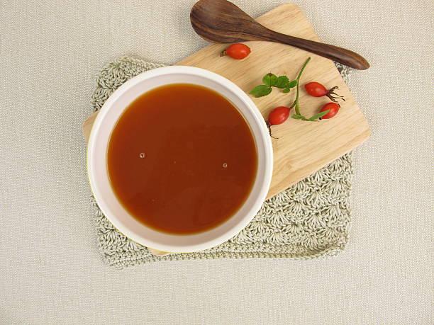 Homemade rose hip soup stock photo