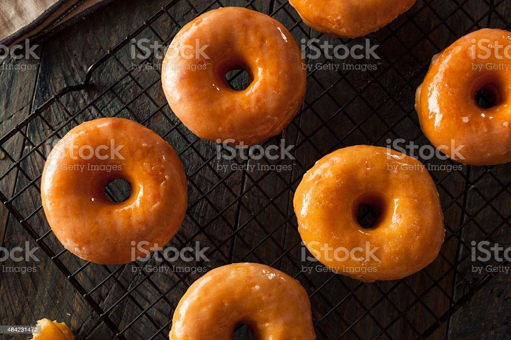 Homemade Round Glazed Donuts stock photo