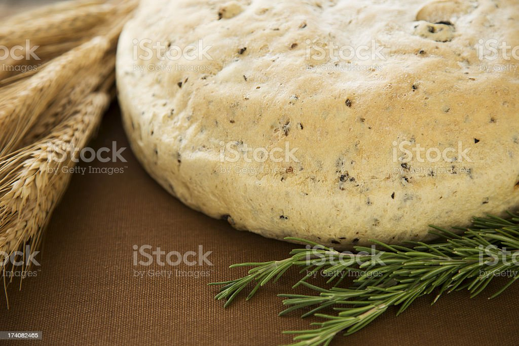Homemade round loaf of rosemary bread royalty-free stock photo
