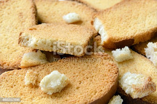 Homemade crispy rusks whith bread. Background Close up