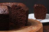 Homemade rustic chocolate cake. Top view